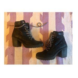 Black Faux Suede Lace- up Boots